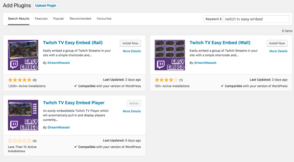Free StreamWeasels WordPress plugins for Twitch Streamers